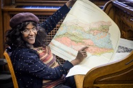G Noel points to her father's hometown on an early 20th-century survey map. January, 2013.
